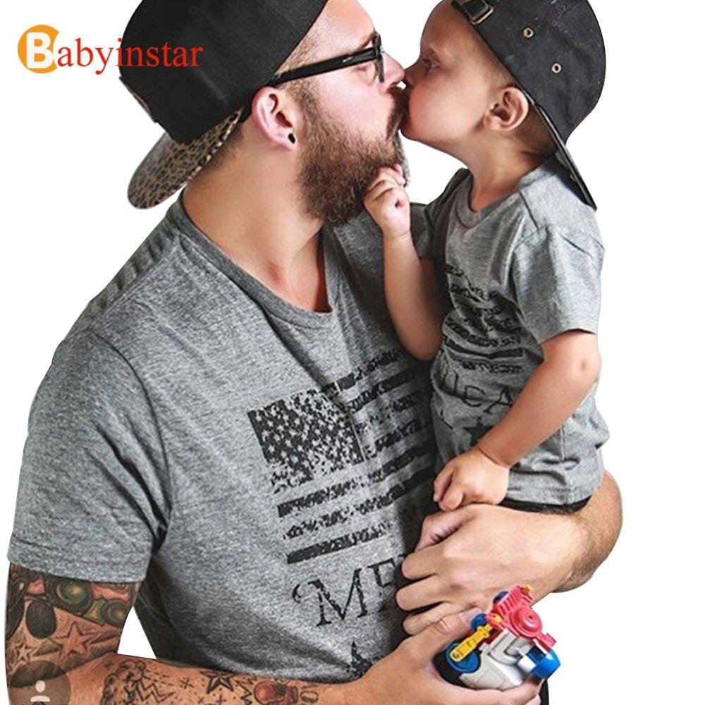 Babyinstar 2018 nouveau père bébé garçon vêtements d'été à manches courtes en coton t-shirt Outwear mode famille correspondant tenues