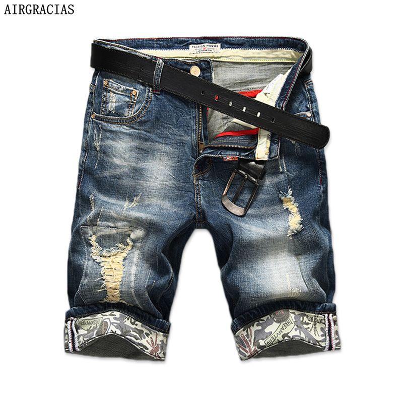 Airgracias новые модные мужские рваные Короткие джинсы брендовая одежда бермуды Лето 98% хлопок Шорты для женщин дышащая Джинсовые шорты мужские