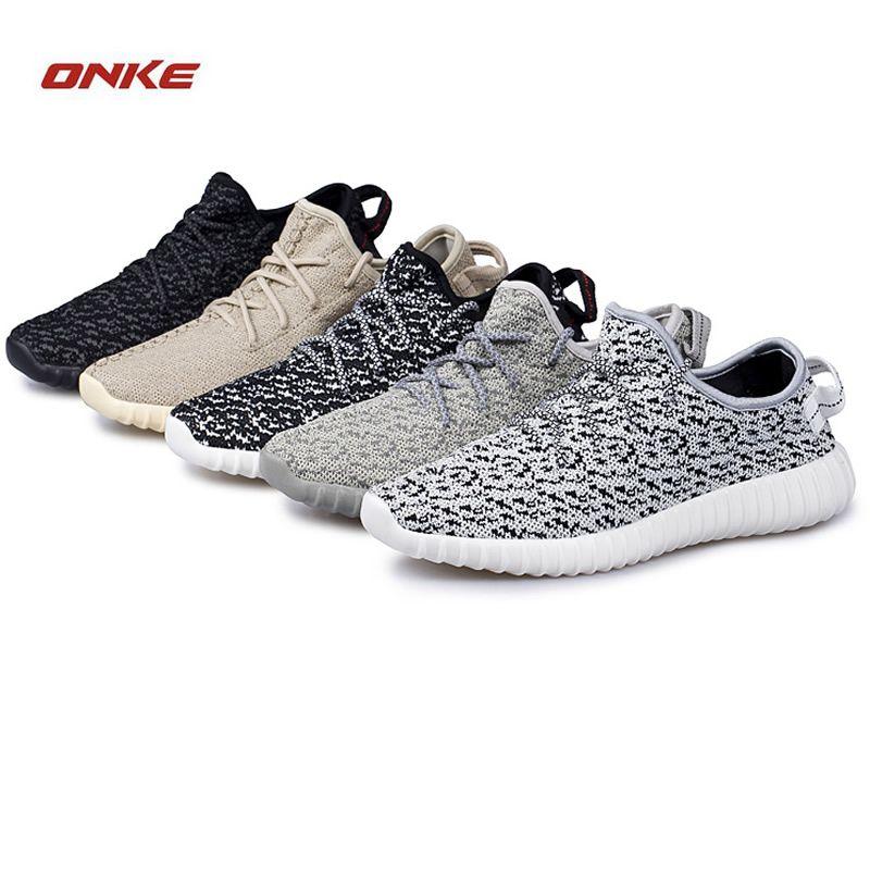 Onke/новые зимние высокого класса спортивные туфли мужские сетки ткань Бег обуви износостойкая подошва огни Для женщин