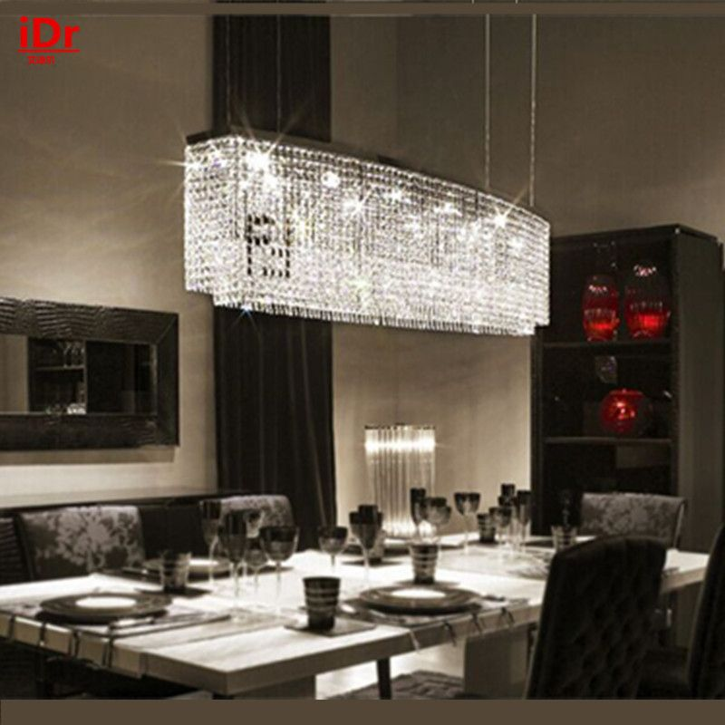 LED rectangular crystal chandelier high quality European-style living room lamp study lamp restaurant lamp creative bar