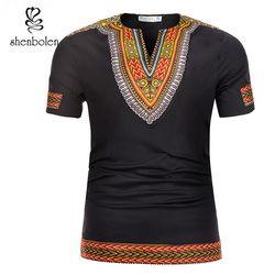 Shenbolen 2018 verano tradición africana Dashiki hombres ropa camiseta cera impresión Hombre Ropa manga corta Camiseta