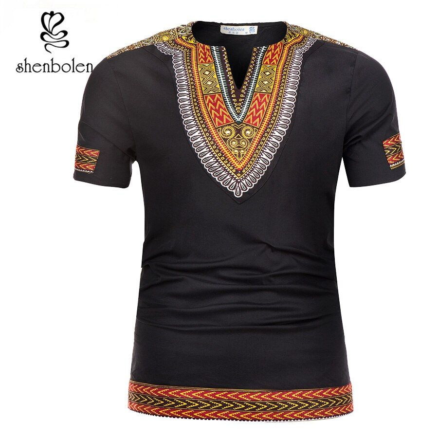 Shenbolen <font><b>2018</b></font> Summer African Tradition Dashiki Men Clothes T-Shirt Wax Fabric Print Man Clothing Short Sleeve Tops Shirt