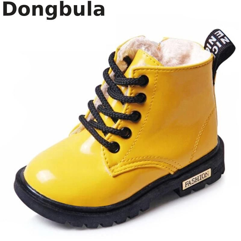 Winter Children Boots Pu Leather Waterproof Martin Boots Shoes For Kids Snow Boots Brand Girls Boys Rubber Boots Fashion Sneaker