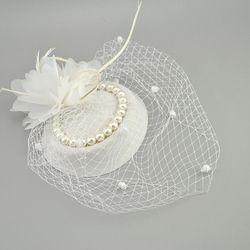 E JUE SHUNG Bridal Net Bulu Topi Putih Merah Hitam Net Pernikahan Topi Bridal Tukang Pesona Birdcage Wajah Veil Mutiara pengantin topi