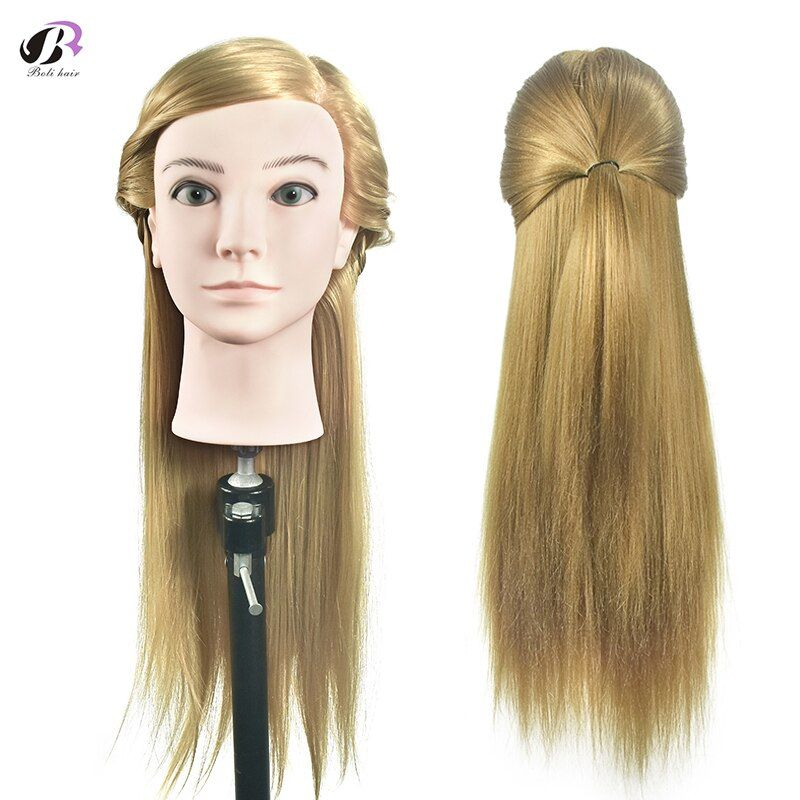 Boli New 26 inch Hair <font><b>Styling</b></font> Mannequin Head Blonde Hair Hairstyle For Hairdresser Dummy Hair Mannequins For Sale Training Head
