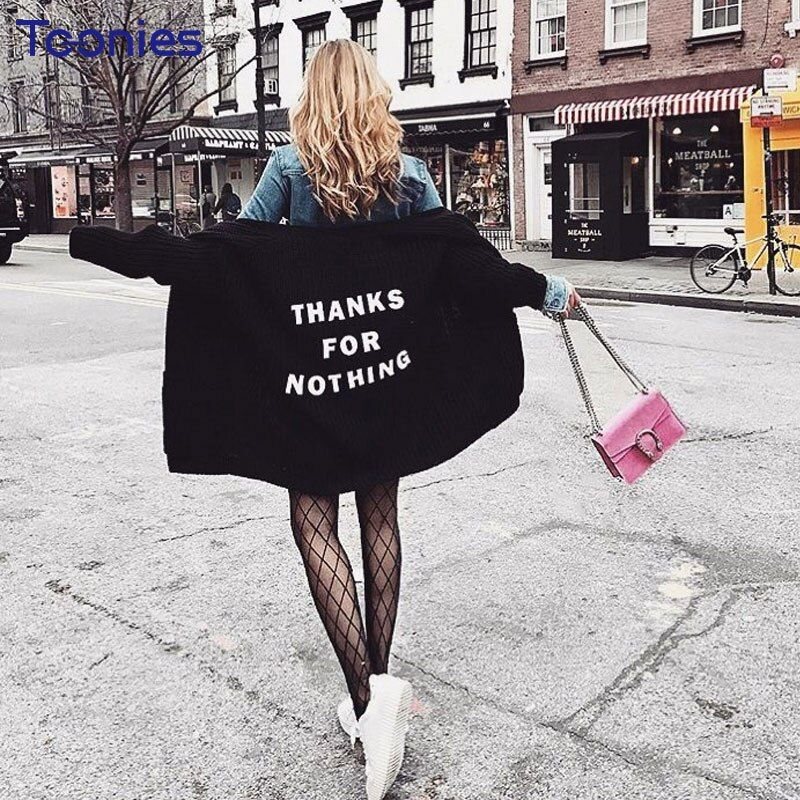 Oversized Women Cardigans Letter Embroidered High Street Knitted Jumper Coats Female Clothing Sueter <font><b>Mujer</b></font> Spring Oversize Pull