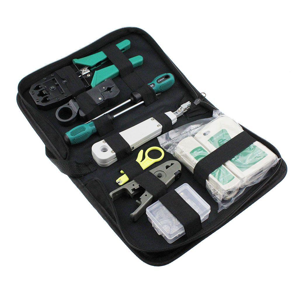 11 pièces/ensemble RJ45 RJ11 RJ12 CAT5 CAT5e Kit d'outils de réparation de réseau LAN Portable testeur de câble Utp et pince à sertir pince à sertir PC