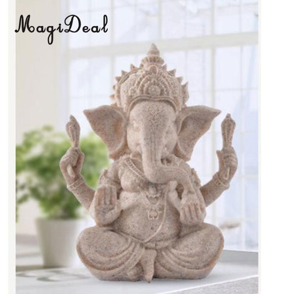 MagiDeal 2018 New Thailand Fengshui Elephant Statue The Hue Sandstone Ganesha Buddha Sculpture Handmade Figurine