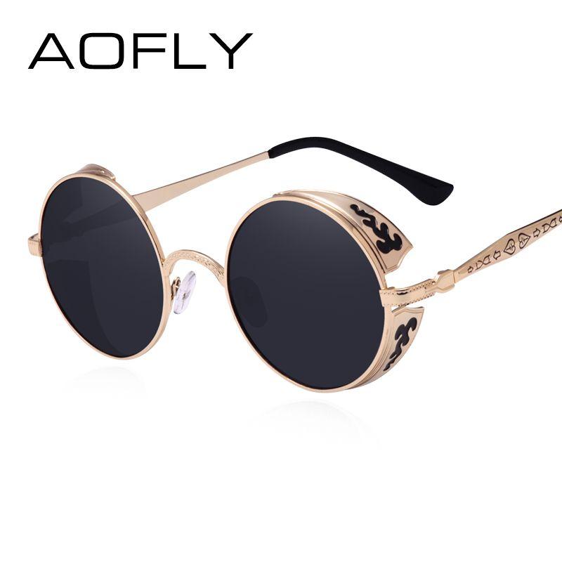 AOFLY Steampunk Vintage Lunettes de Soleil de Mode lunettes de soleil rondes femmes concepteur de marque en métal sculpture lunettes de soleil hommes oculos de sol S1635