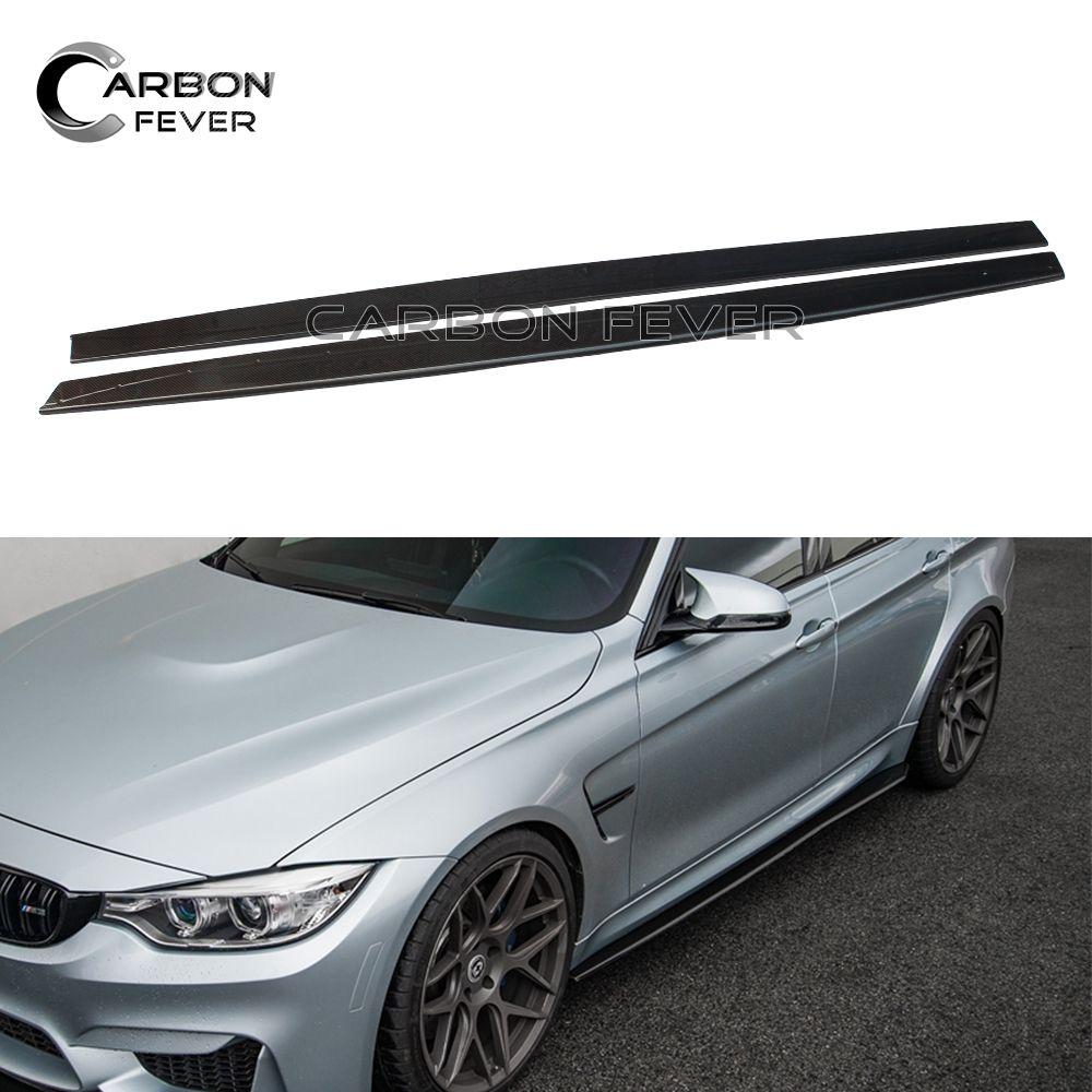 For BMW M3 M4 F80 F82 F83 Carbon Fiber Side Skirt Bumper Lip 2014 + Sedan Coupe Cabriolet