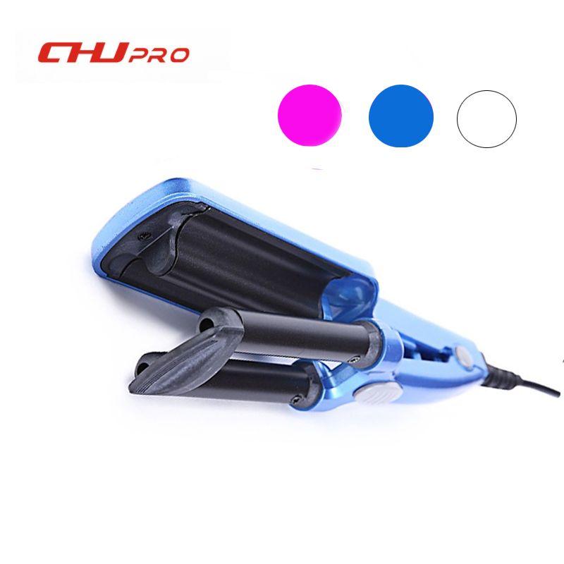 CHJ cheveux bigoudi Mini 3 baril fer à friser plat en céramique cheveux outils professionnel pince à friser baguette de Curling Salon outils de coiffure