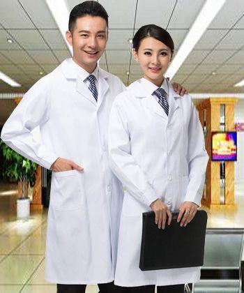 Femmes ou hommes blanc médical manteau vêtements Services médicaux uniforme infirmière vêtements à manches longues Polyester protéger laboratoire manteaux tissu