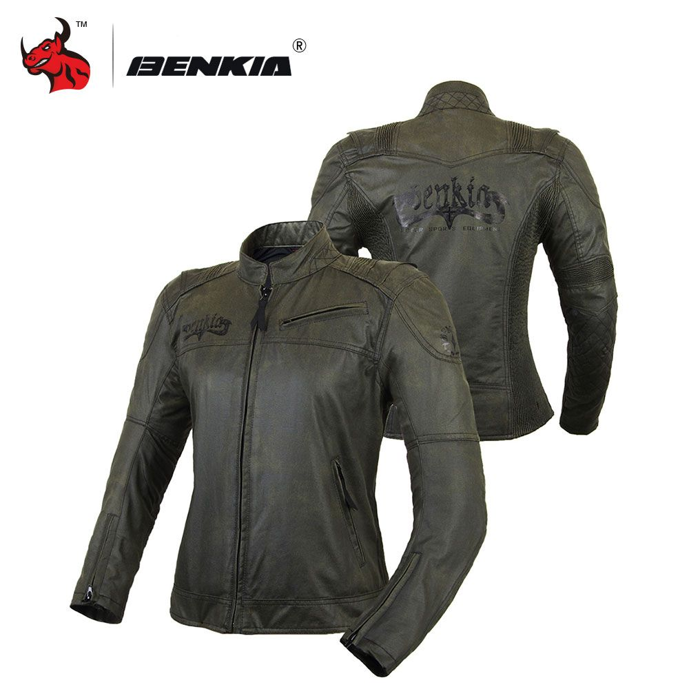 BENKIA Women's Motorcycle Jackets Spring Summer Racing Suit Jaqueta Motocicleta Vintga Moto Racing Jacket Blouson Moto Femme