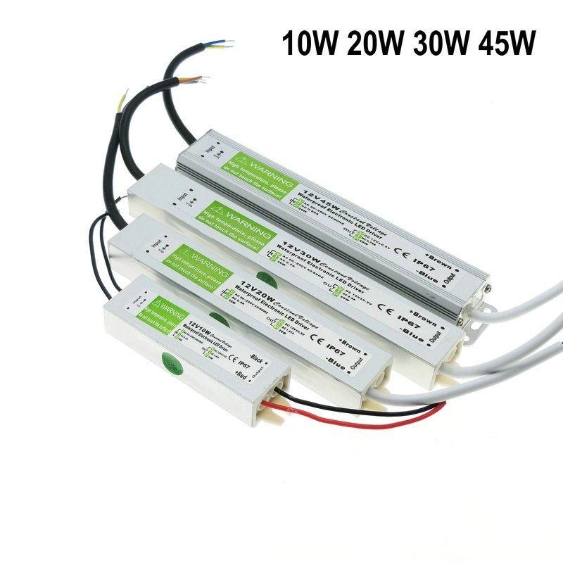 DC 12 V alimentation LED alimentation étanche IP67 transformateur 10 W 20 W 30 W 45 W 50 W AC à DC adaptateur pilote pour les lumières de bande de jardin en plein air