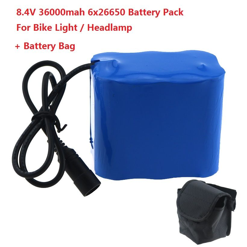 High Capacity 8.4V 36000mAh 6 x 26650 Rechargeable Battery Pack For LED Bike Light With Magic Bag for led bike lights headlamps