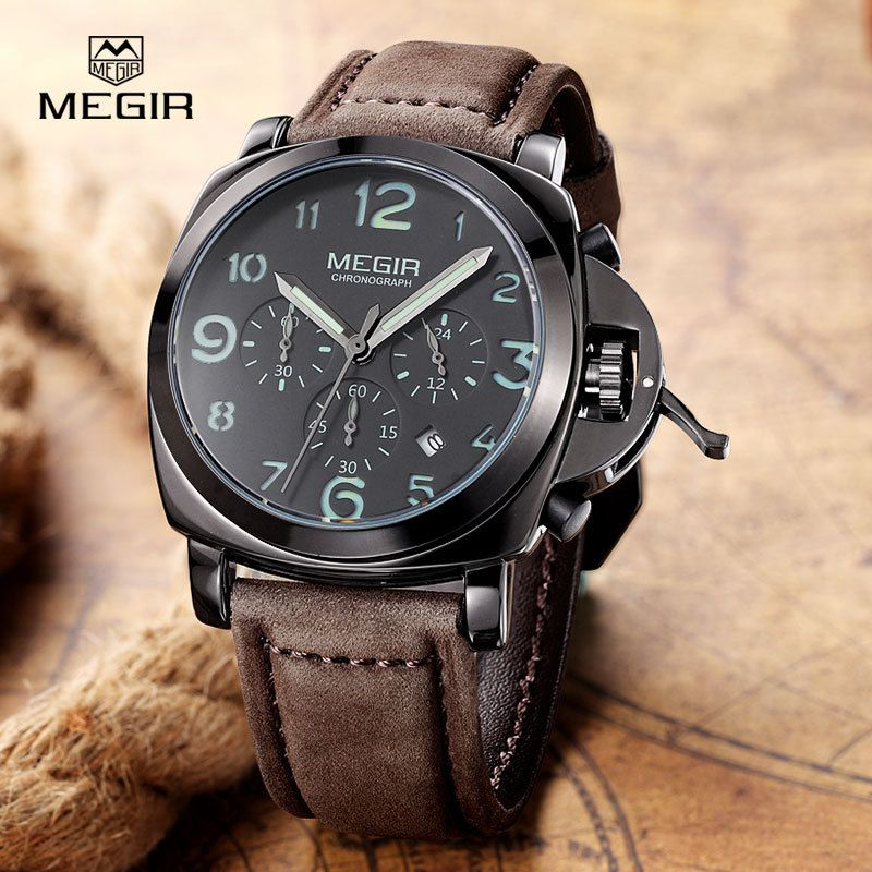 MEGIR Mens Watches Luxury Brand Famous Date <font><b>Chronograph</b></font> Watches For Men Waterproof Sport Military Watch Male Clock Montre Homme