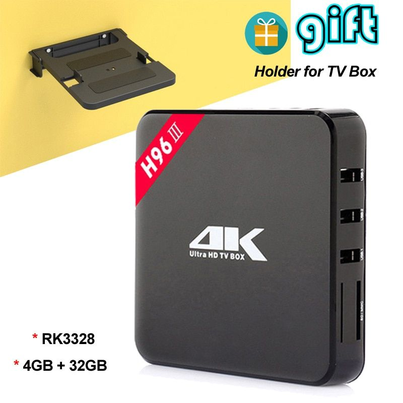 H96-iii 4 GB 32 GB Android 7.1 Televisiones inteligentes con Kodi 17.3 rk3328 Quad Core Mini PC 4 K Media Player bluetooth USB WiFi 3.0 Unidades caja