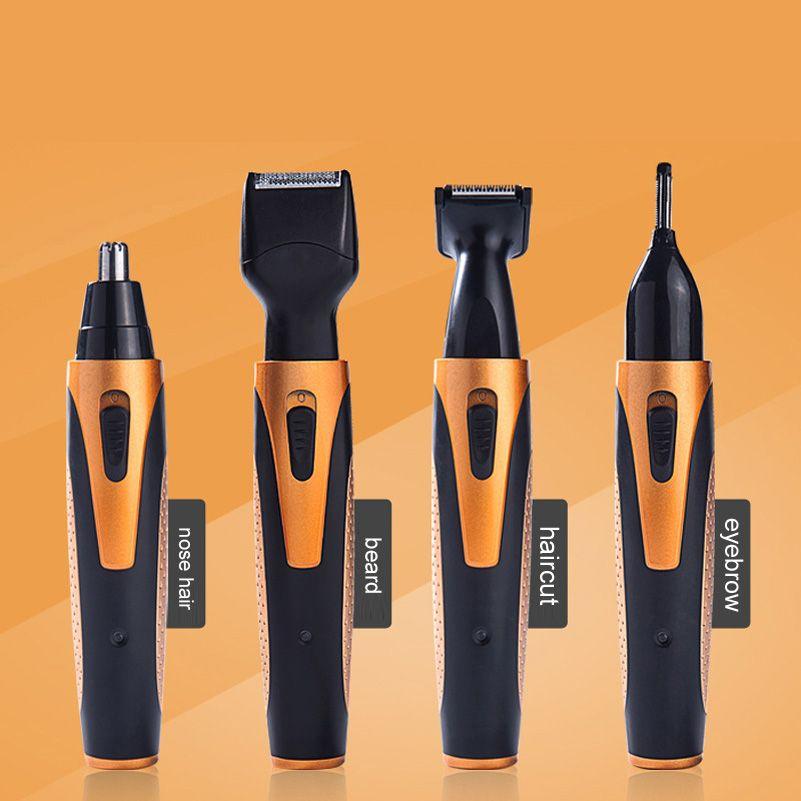 4 En 1 Rechargeable Nez Tondeuse Visage Cheveux Nez Oreille retrait Électrique Tondeuse Rinçage Nasal Sourcils Nez Oreille Coupe Hommes Outil