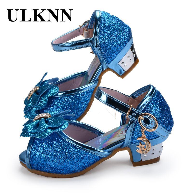 Enfants 2017 Children Princess Sandals Dress Shoes For Girl Butterfly Glitter Peep-toe Low Heels Fille Sandal Baby Girl Shoe