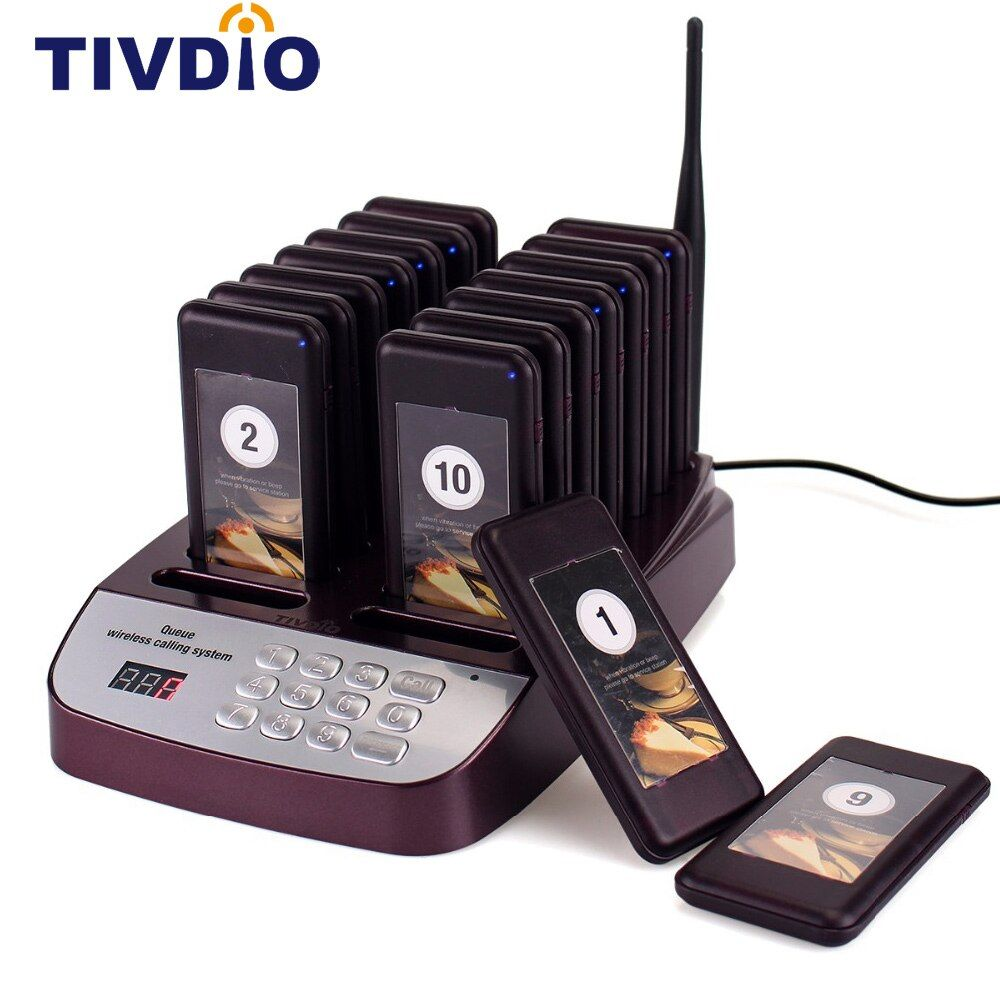 TIVDIO T-113 Restaurant Pager Wireless Paging Queuing System 16 Call Coaster Pagers 999 Channel Restaurant Equipments F9403D