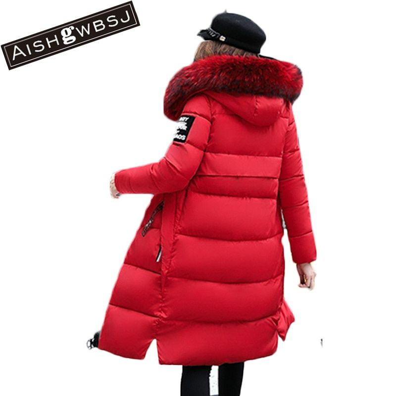 AISHGWBSJ Women Long plus size Jackets Padded-Cotton Coats Winter Hooded Warm Wadded  Female Parkas Fur Collar Outerwear PL147
