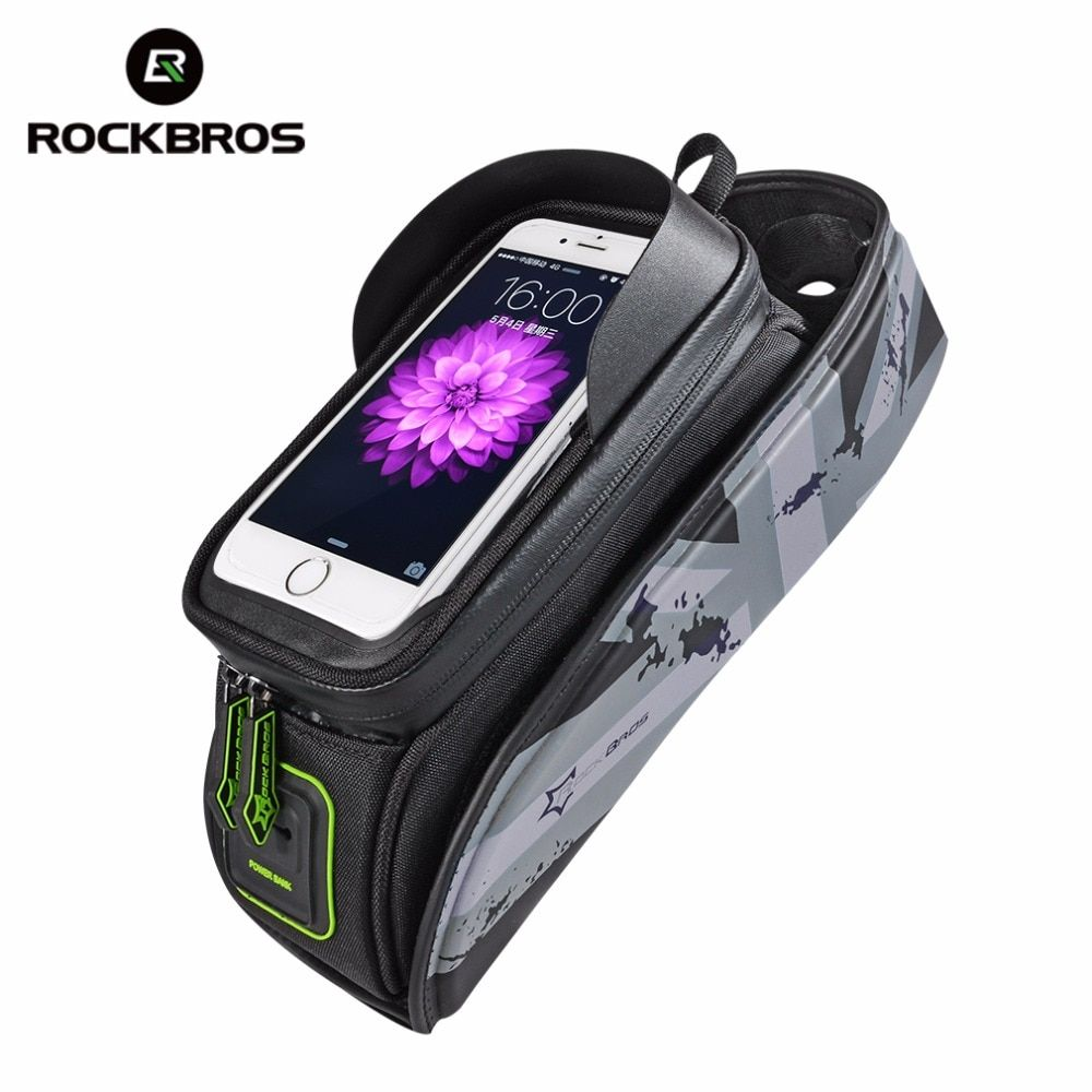 ROCKBROS Bicycle <font><b>Frame</b></font> Front Tube Waterproof Bike Bag Touch Screen Bike Saddle Package For 5.8 /6 in Cell Phone Bike Accessories