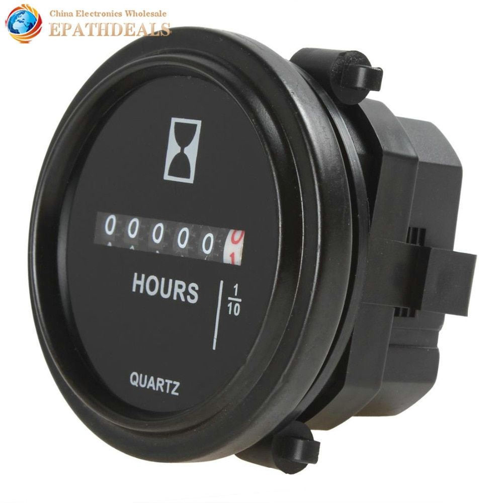 2 Inch DC 8-80V Round Mechanical Hour Meter Counter Timer Hourmeter for Race Car Boat Generator Diesel Gasolin Petrol Engine