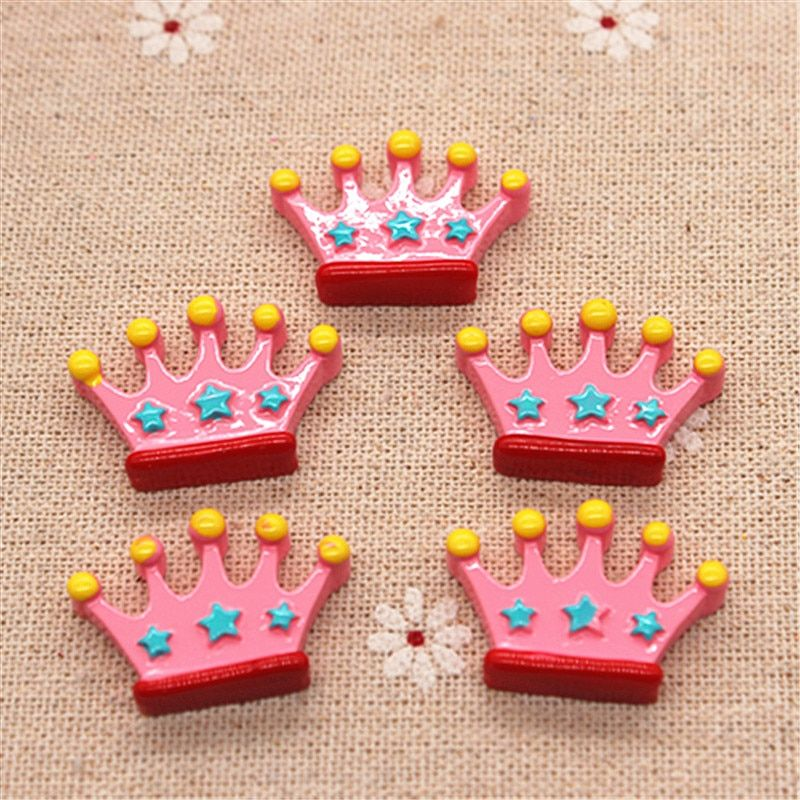 10pcs Kawaii Pink Crown Resin Miniature Art Supply Flatback Cabochon DIY Decorative Craft Scrapbooking,19*28mm