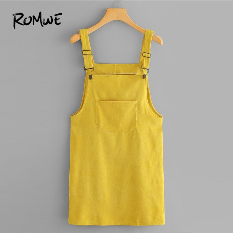 ROMWE Corduroy Dungaree Dress With Pocket Summer Yellow Sleeveless Straps Pinafore Women Casual Plain Straight Short Dress