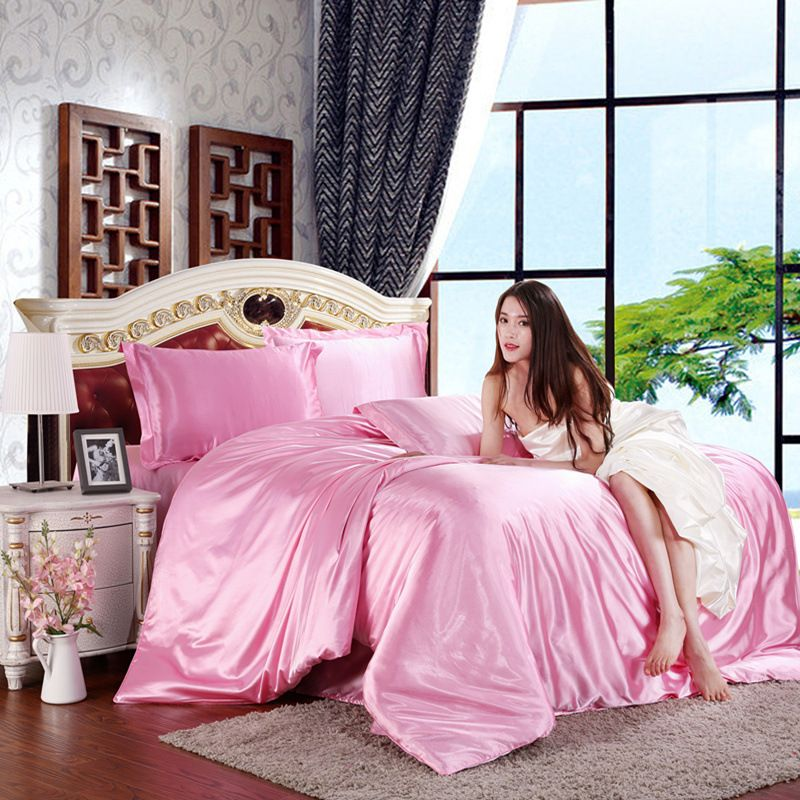 Ice silk 4pcs solid color simulation silk satin summer bedding set duvet cover set Pillowcases bed sheet comforter bedding sets