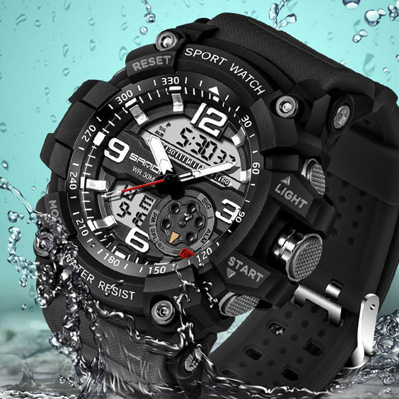 SANDA montre numérique hommes armée militaire Sport montre résistant à l'eau Date calendrier LED montres électroniques relogio masculino