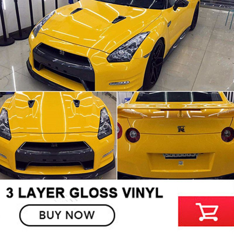 1.52m*20m/roll Glossy Vinyl Film Gloss vinyl Wrap Sticker vinyl for Car wrapping With air bubbles