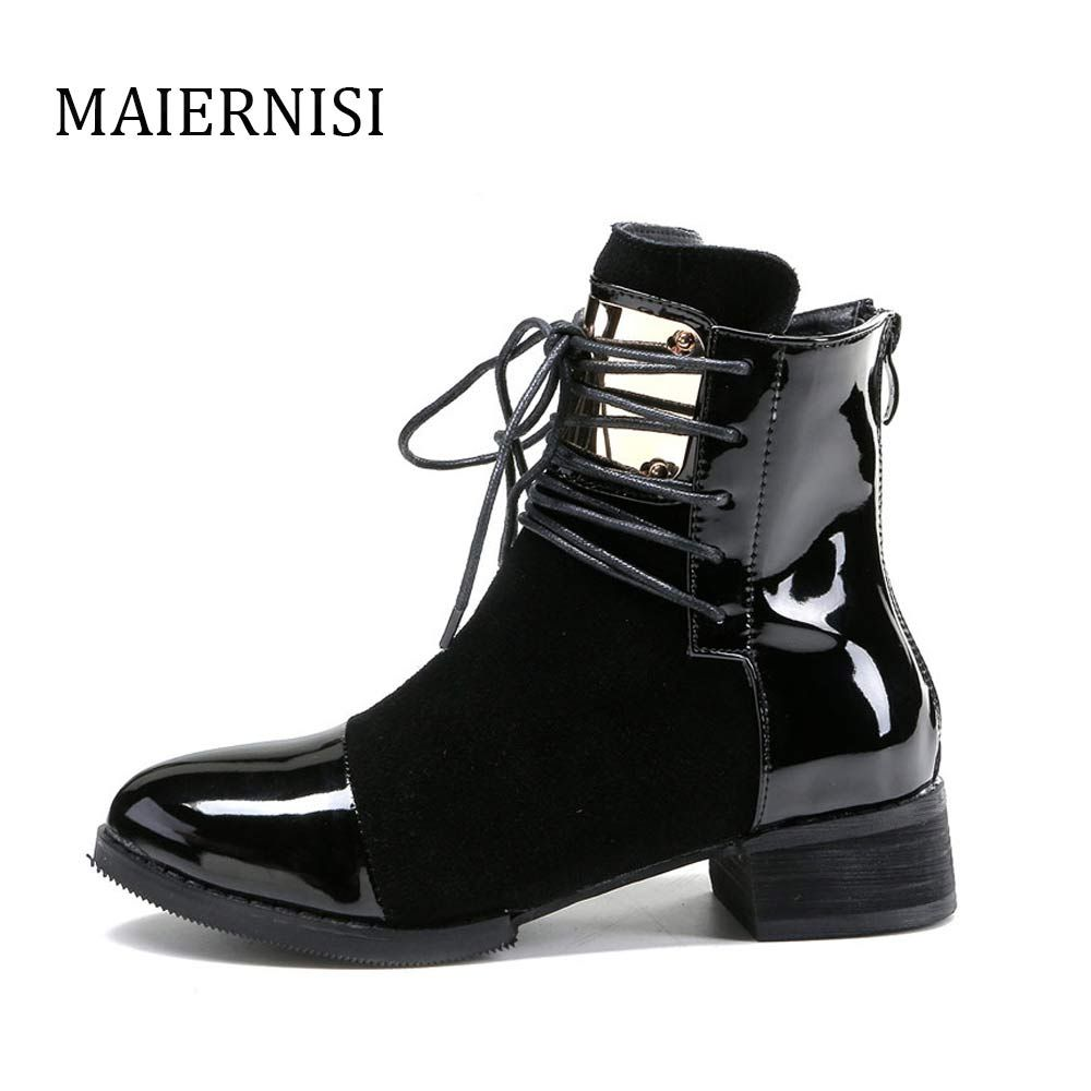 Women Leather Genuine Leather Boots Martin Ankle Boots Women's Motorcycle Boots Autumn Women's Leather Winter Boots