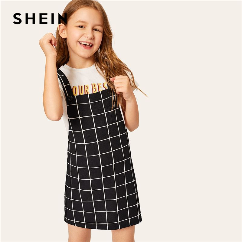 SHEIN Kiddie Black Plaid Pocket Front Pinafore Preppy Girls Dress Teenager Clothes 2019 Summer Sleeveless Buttoned Kids Dresses