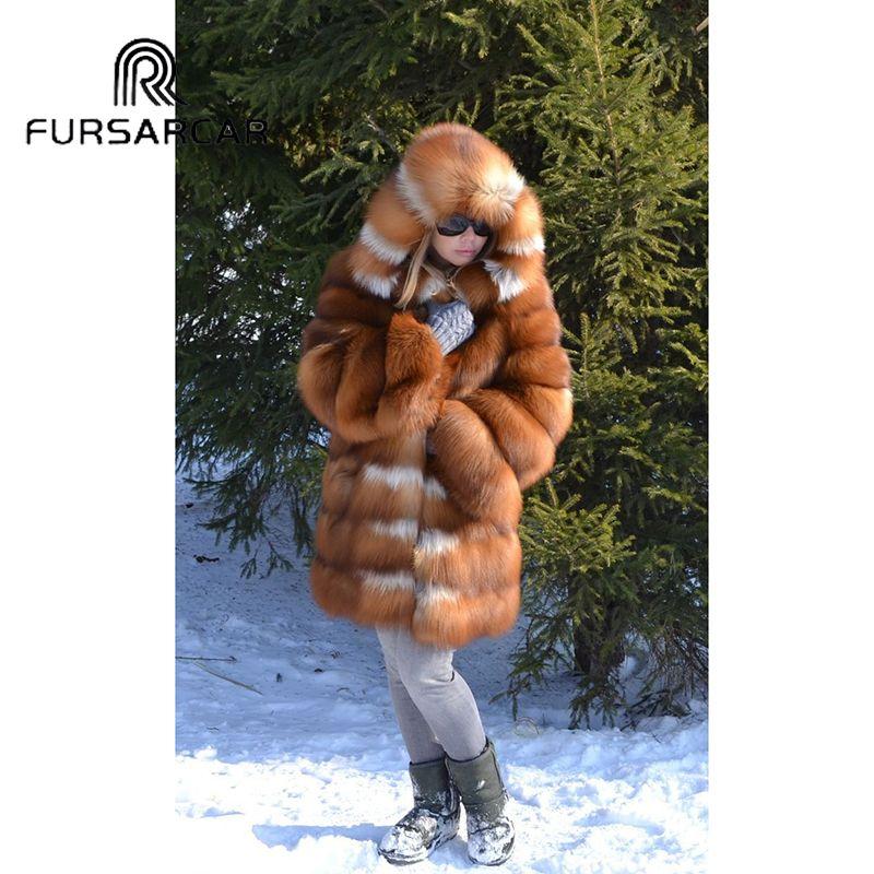 FURSARCAR Natürliche Echt Pelzmantel Frauen Luxus Dicke Warme Gold Fuchs Pelz Jacke Mit Kapuze 2019 Neue Winter Mode Fuchs pelz Mantel