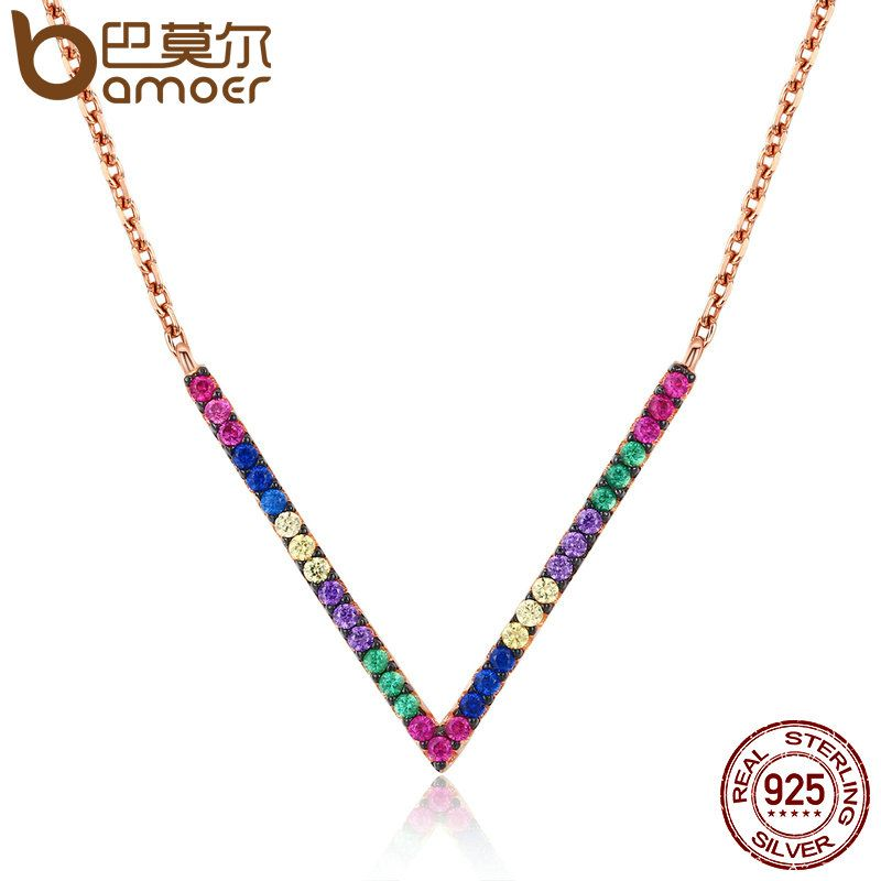 BAMOER 925 Sterling Silver & Rose Gold Exquisite V Letter Pendant Necklaces for Women Colorful CZ Triangle Jewelry SCN124