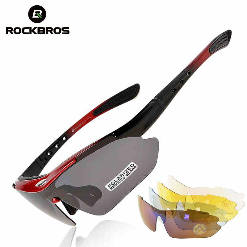 Rockbros Polarisierte Sport Männer Sonnenbrille Rennrad Brille Mit Myopie Rahmen Abnehmbare Mountainbike Fahrrad Fahren Einstellbare UV Schutz Ultraleichte Brille Brillen 5 Objektiv