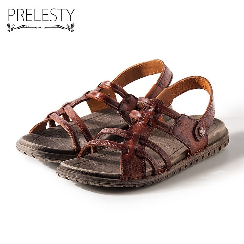 Prelesty Super Light Men Summer Sandals Genuine Cow Leather Quality Slippers Anti-resisting Beach Holiday Water Pool Shoes DS