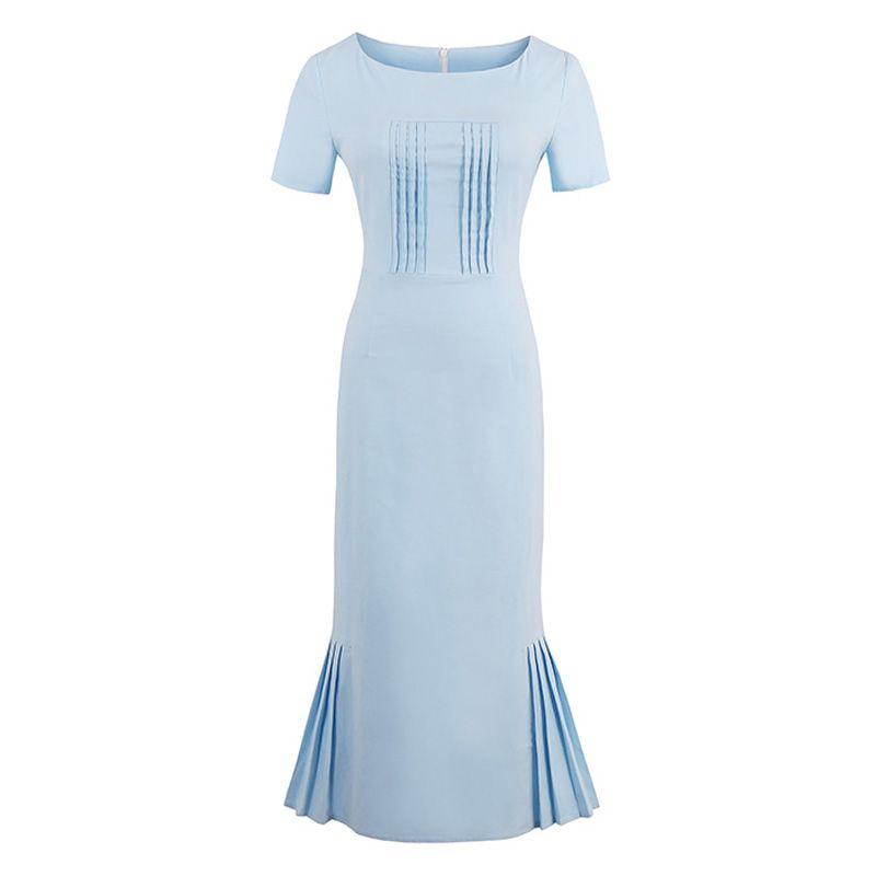 Sisjuly 2019 nouveau été femmes rétro moulante robe bleu clair gaine mi-mollet femme élégant sirène Style O cou robes Vintage
