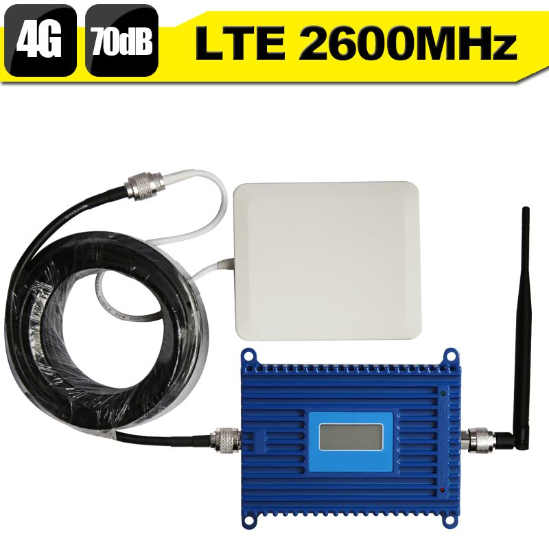 LCD Display 4G LTE 2600mhz Mobile Phone Signal Amplifier 70dB Gain 4G Internet Cell Phone Cellular Booster Repeater + 4G Antenna
