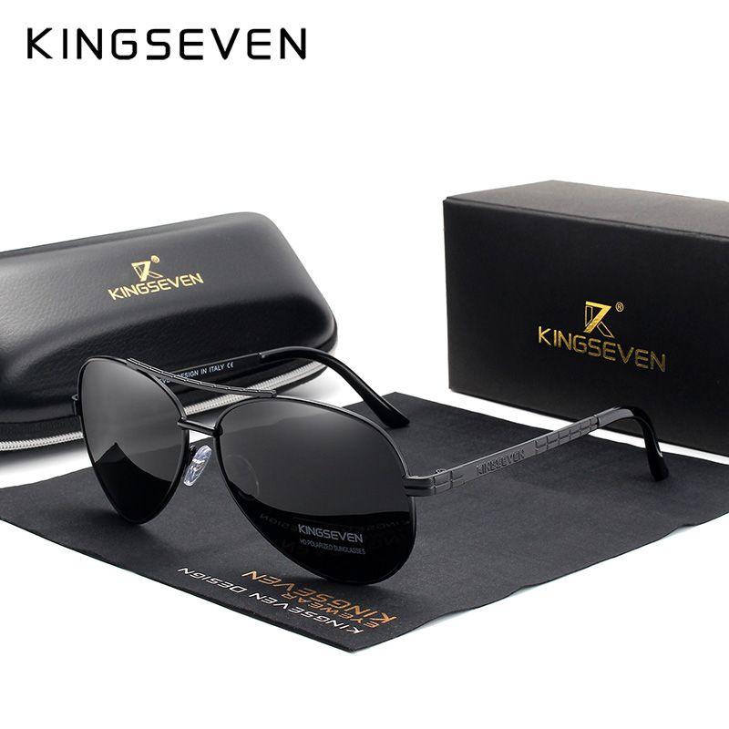 Kingseven - lunettes de soleil HD, hommes, lunettes de soleil pour hommes polarisées en haute définition avec monture en alliage d'aviation, tout nouveau design et protection UV400, 2019