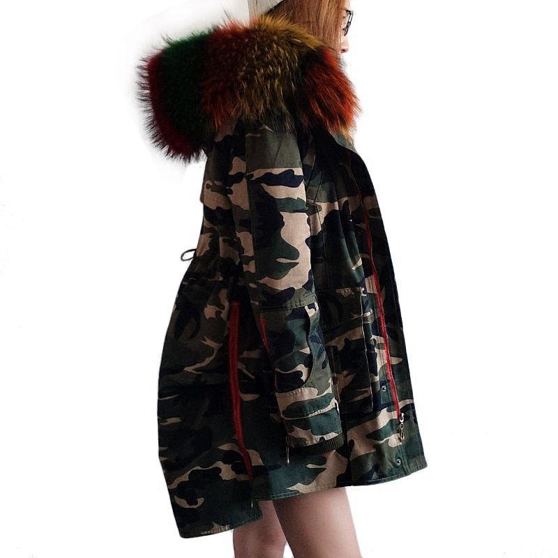 Maomaokong 2017 Winter army green Coats Women Jackets Real Large Raccoon Fur Collar Thick Dovetail Ladies Down & Parkas