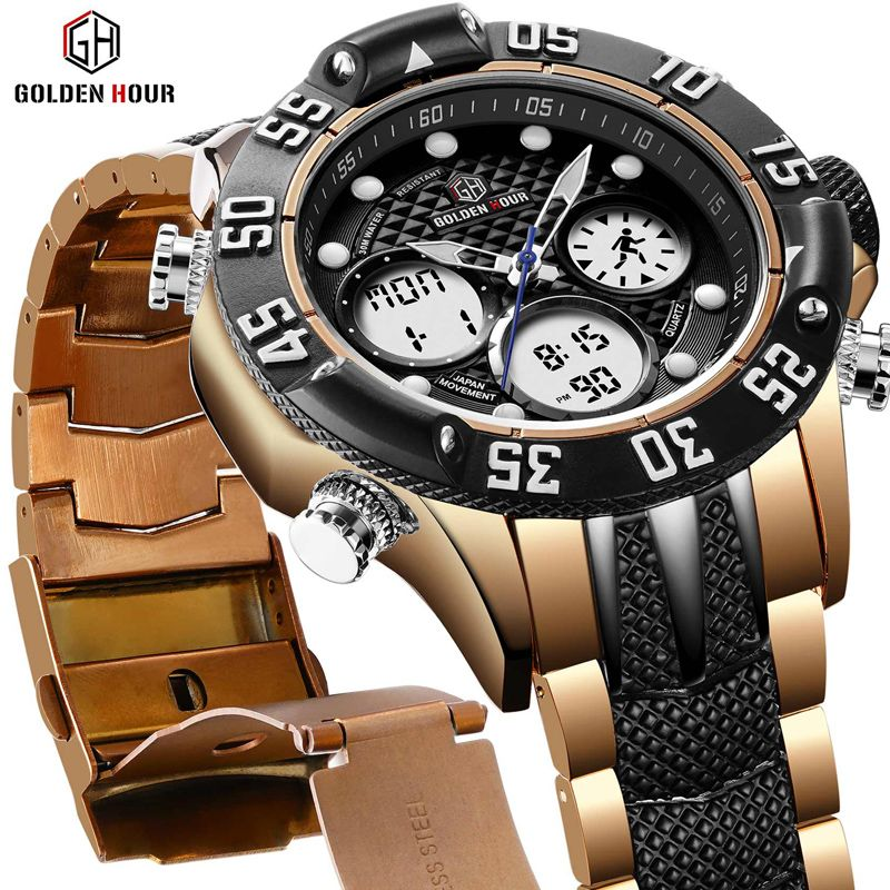 GOLDENHOUR Top Brand Men Military Sport Watches Mens LED Analog Digital Watch Male Army Stainless Quartz Clock Relogio Masculino