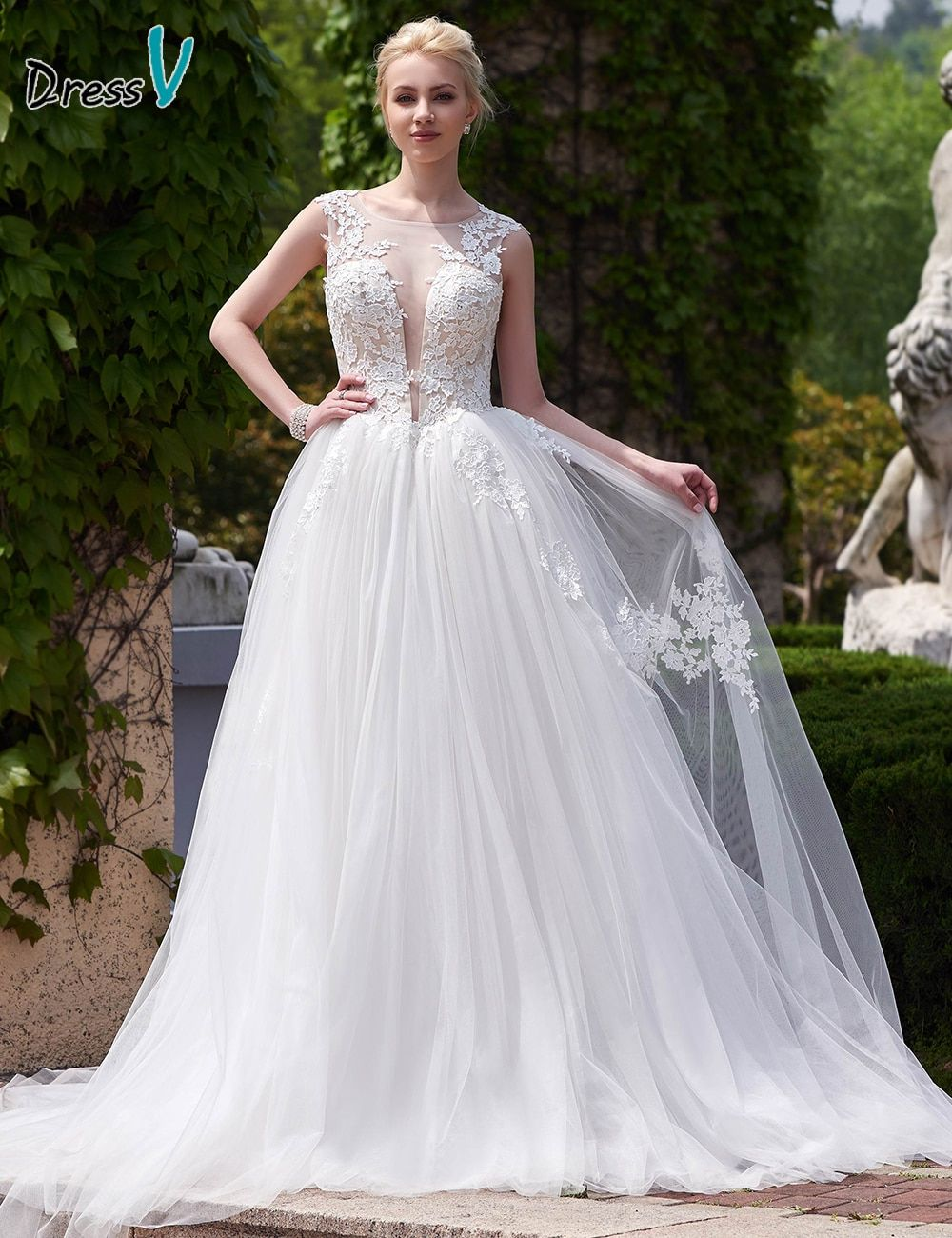 Dressv Open Back Scoop Neck Appliques wedding dress A-Line Court Train white elegant and fashion tulle Wedding Dress