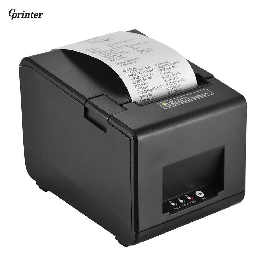 Gprinter Thermal Receipt Printer Barcode Label Graphic Printer Cutter 160mm/s 80mm Printing Width for Reastaurant Kitchen POS