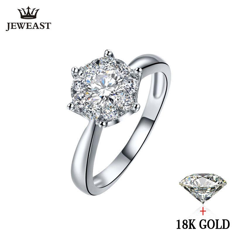 18 Karat Gold Diamant-ring Frauen Mädchen Liebhaber Paar Geschenk Natürlichen große Diamant Klassischen Sechs Klaue 1CT 2CT Carat Genuine Hochzeit vorschlagen