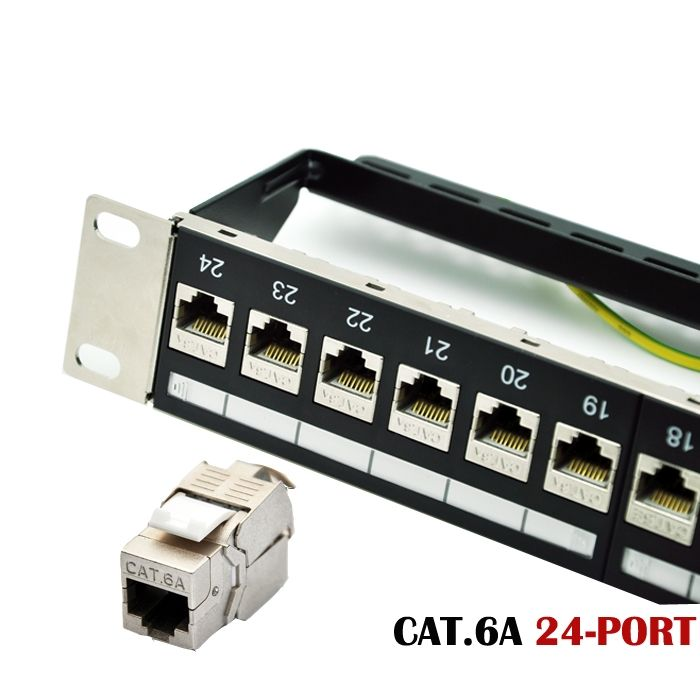24-port CAT.6A Shielded Modular Patch Panel Incl. 24pcs of CAT.6A Shielded Tool-free Type Keystone Jacks, 19