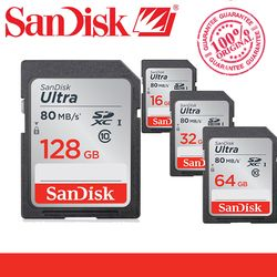 Original SanDisk Ultra SD card 128GB 64GB 32GB 16GB Class 10 SD SDHC SDXC High Speed Memory Card C10 80MB/s for camera