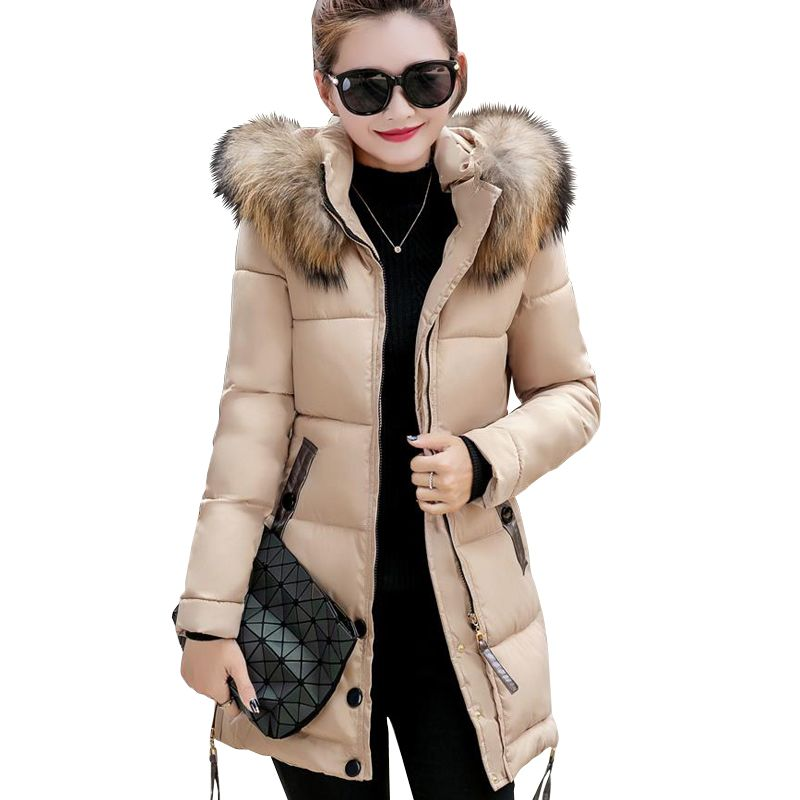 2017 fur collar plus size 3XL women winter hooded coat female outerwear parka ladies warm long jacket slim jaqueta feminina