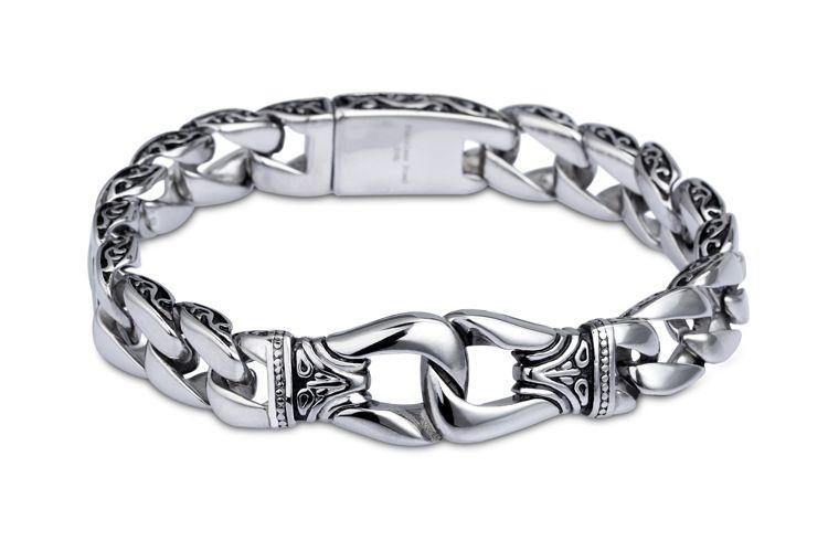 Bracelet pour hommes en acier inoxydable 316L couleur argent courbé Bracelets de chaîne à maillons pour hommes Davieslee bijoux en gros 15mm